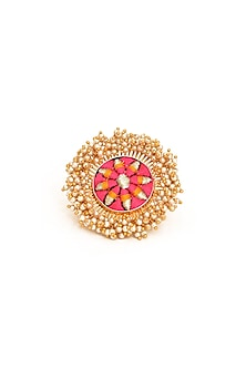Gold Finish Zari Embroidered Ring by Bauble Bazaar