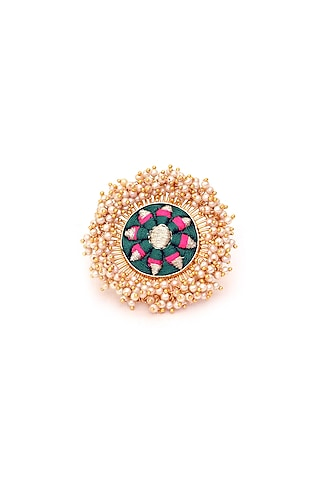 Gold Finish Three Toned Ring by Bauble Bazaar