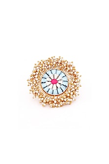 Gold Finish Hangings Ring by Bauble Bazaar