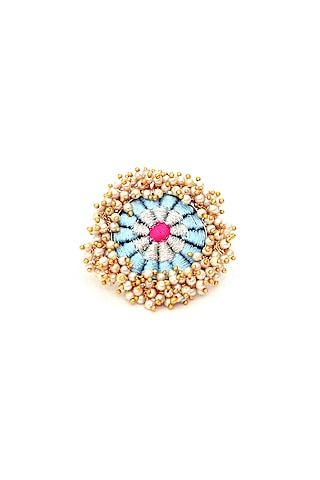 Gold Finish Zari Thread Embroidered Ring by Bauble Bazaar