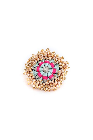 Gold Finish Zari Silk Thread Embroidered Ring by Bauble Bazaar