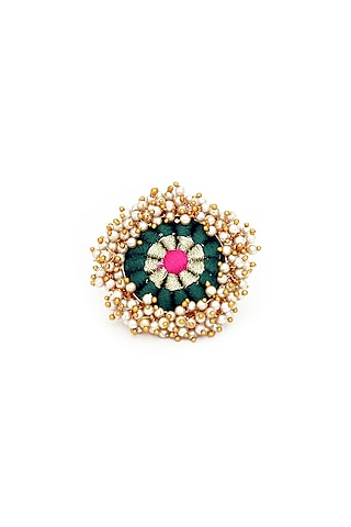 Gold Finish Pearls & Thread Embroidered Ring by Bauble Bazaar