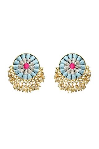 Gold Finish Pearls Earrings by Bauble Bazaar