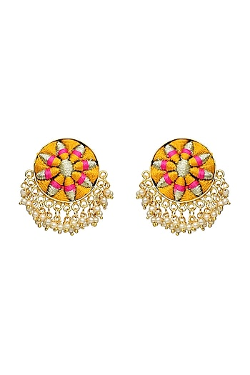 Gold Finish Thread Embroidered Earrings by Bauble Bazaar