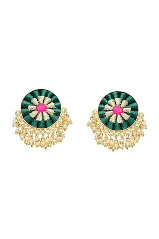 Gold Finish Zari Embroidered Earrings by Bauble Bazaar