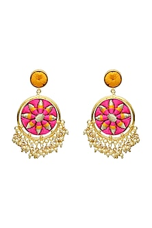 Gold Finish Circular Earrings by Bauble Bazaar