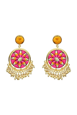 Gold Finish Circular Earrings by Bauble Bazaar