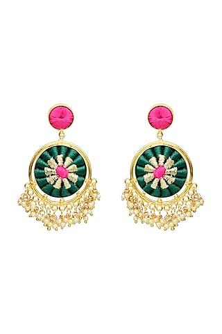Gold Finish Double Circular Earrings by Bauble Bazaar