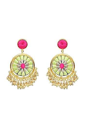 Gold Finish Pearls Circular Earrings by Bauble Bazaar