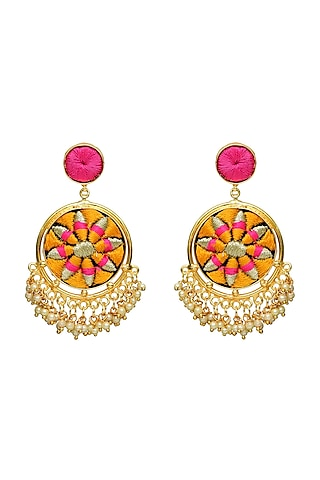 Gold Finish Matte Earrings by Bauble Bazaar