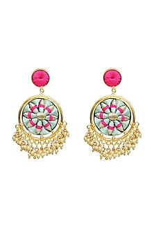 Gold Finish Double Circular Earrings by Bauble Bazaar