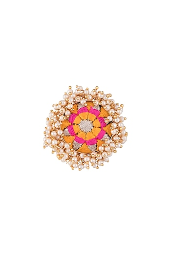 Matte Gold Finish Embroidered Pearl Hanging Ring by Bauble Bazaar