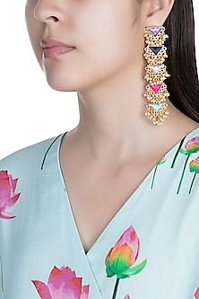 Matte Gold Finish Embroidered Layered Triangle Earrings by Bauble Bazaar