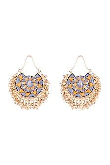Matte Gold Finish Embroidered Pearl Hanging Moon Earrings by Bauble Bazaar