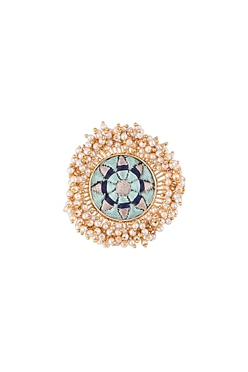 Matte Gold Finish Embroidered Pearl Hanging Circular Ring by Bauble Bazaar