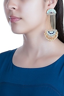 Matte Gold Finish Embroidered Pearl Hanging Long Chain Earrings by Bauble Bazaar