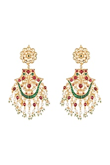Gold Plated Pachi Kundan & Bead Earrings by Bauble Bazaar