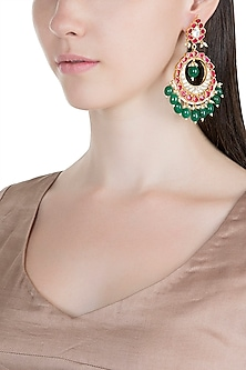 Gold Plated Kundan & Bead Earrings by Bauble Bazaar