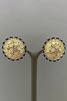 Gold Finish Beaded Earrings by Bauble Bazaar-POPULAR PRODUCTS AT STORE