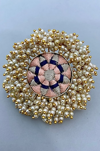 Gold Finish Thread Embroidered Ring by Bauble Bazaar