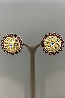Gold Finish Red Beaded Earrings by Bauble Bazaar-POPULAR PRODUCTS AT STORE