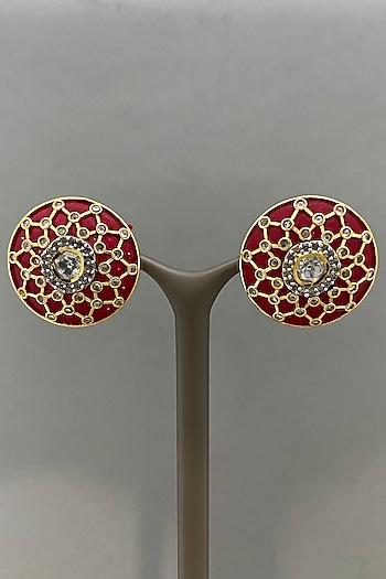 Gold Finish Earrings With Pink Enamel by Bauble Bazaar