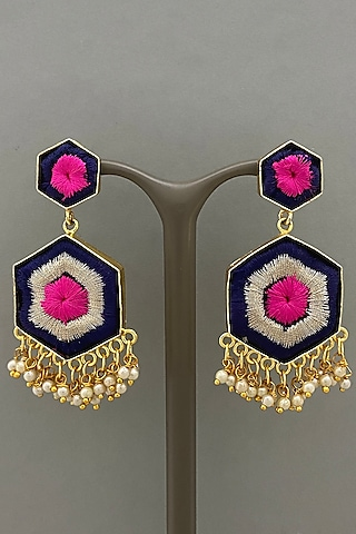 Gold Finish Embroidered Earrings by Bauble Bazaar