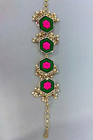 Gold Finish Pearls Bracelet by Bauble Bazaar