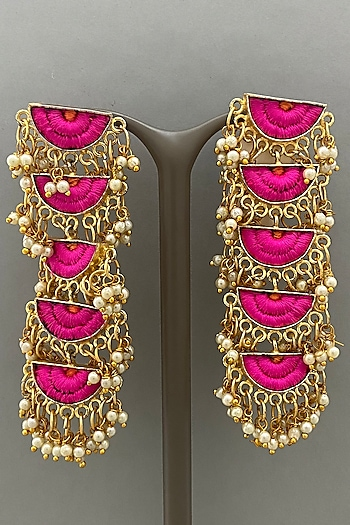 Gold Finish Silk Thread Embroidered Earrings by Bauble Bazaar