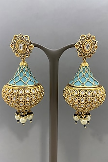 Gold Finish Enameled Earrings by Bauble Bazaar-POPULAR PRODUCTS AT STORE