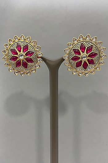 Gold Finish Floral Stud Earrings by Bauble Bazaar