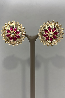 Gold Finish Floral Stud Earrings by Bauble Bazaar-POPULAR PRODUCTS AT STORE