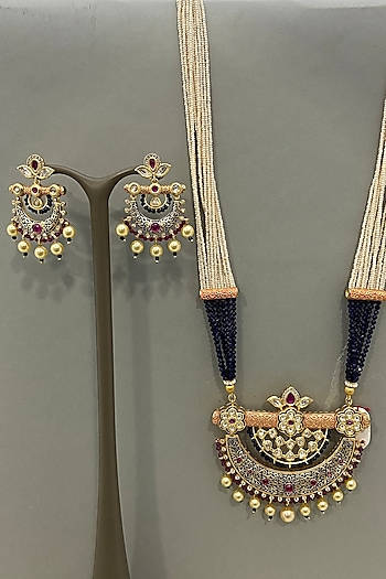 Gold Finish Beaded Necklace Set by Bauble Bazaar