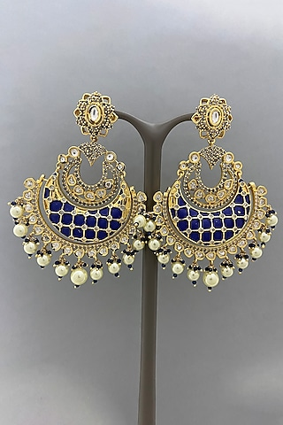 Gold Finish Earrings With Blue Enameled by Bauble Bazaar