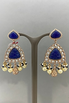 Gold Finish Blue Stone Earrings by Bauble Bazaar-POPULAR PRODUCTS AT STORE