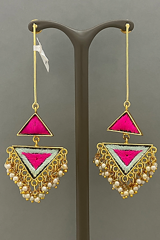 Gold Finish Earrings With Thread Embroidered by Bauble Bazaar