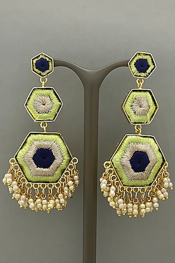 Gold Finish Earrings With Silk Thread Embroidered by Bauble Bazaar