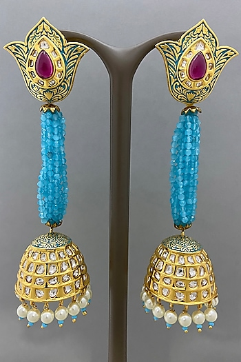 Gold Finish Blue Beaded Earrings by Bauble Bazaar
