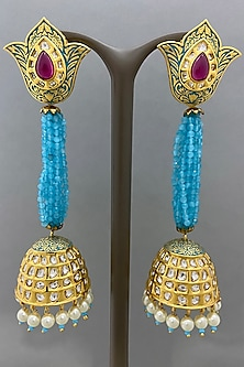 Gold Finish Blue Beaded Earrings by Bauble Bazaar-POPULAR PRODUCTS AT STORE