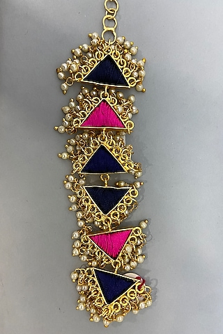 Gold Finish Pearl & Embroidered Bracelet by Bauble Bazaar