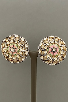Gold Finish Pink Enameled Earrings by Bauble Bazaar-POPULAR PRODUCTS AT STORE
