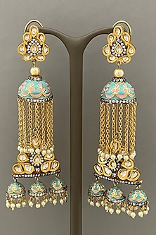 Gold Finish Blue Enameled Dangler Earrings by Bauble Bazaar-POPULAR PRODUCTS AT STORE