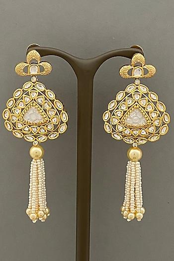 Gold Finish Tassel Earrings by Bauble Bazaar