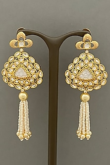 Gold Finish Tassel Earrings by Bauble Bazaar-POPULAR PRODUCTS AT STORE