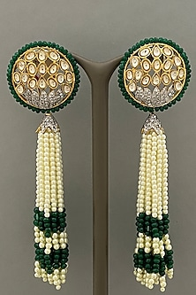 Gold Finish Beaded Tassel Earrings by Bauble Bazaar-POPULAR PRODUCTS AT STORE