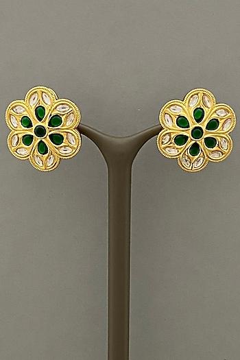 Gold Finish Stud Earrings by Bauble Bazaar
