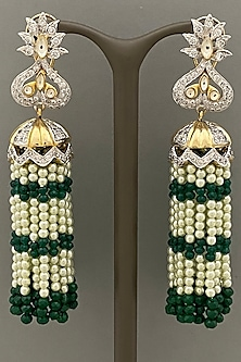 Gold Finish Earrings With Beaded Tassels by Bauble Bazaar