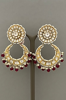 Gold Finish Red Beaded Earrings by Bauble Bazaar