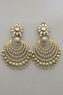 Gold Finish Kundan & Pearl Earring by Bauble Bazaar-POPULAR PRODUCTS AT STORE
