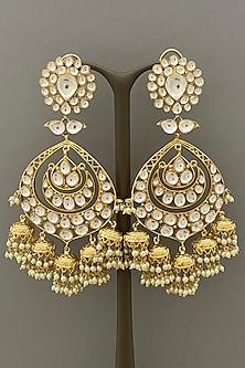 Gold Finish Kundan Earring by Bauble Bazaar